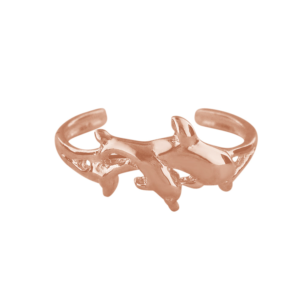 14kt Rose Gold Plated Sterling Silver Dolphin Toe Ring