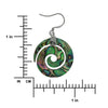 Sterling Silver Abalone Shell Spiral Circle Dangle Earrings