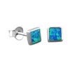 Sterling Silver Synthetic Opal Square Stud Earrings Mini XS 5mm