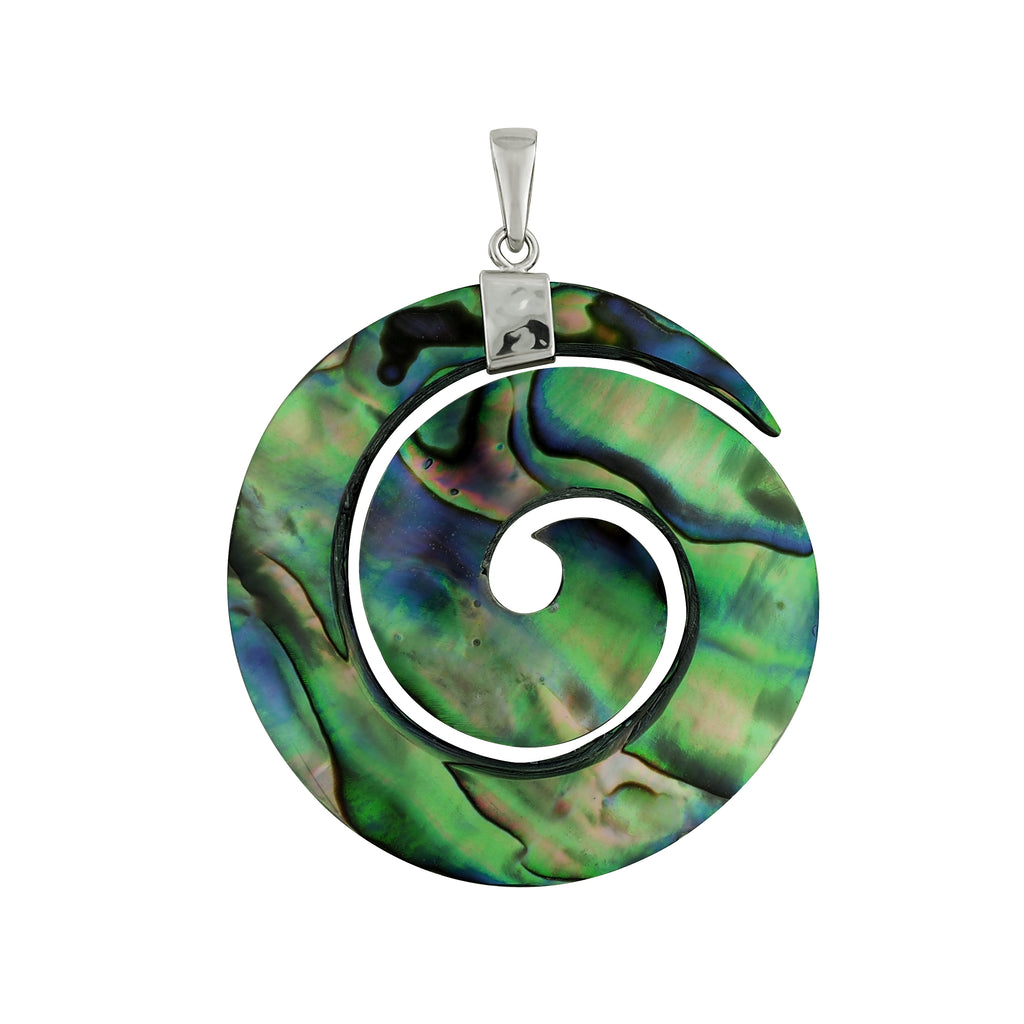 Sterling Silver Abalone Shell Spiral Circle Pendant