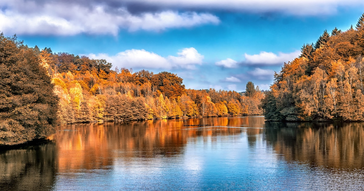 Clean River in Fall Foliage