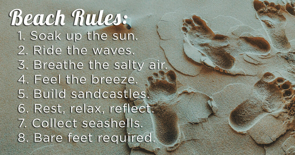 Beach Rules in the sand with footprints. Beach Quotes
