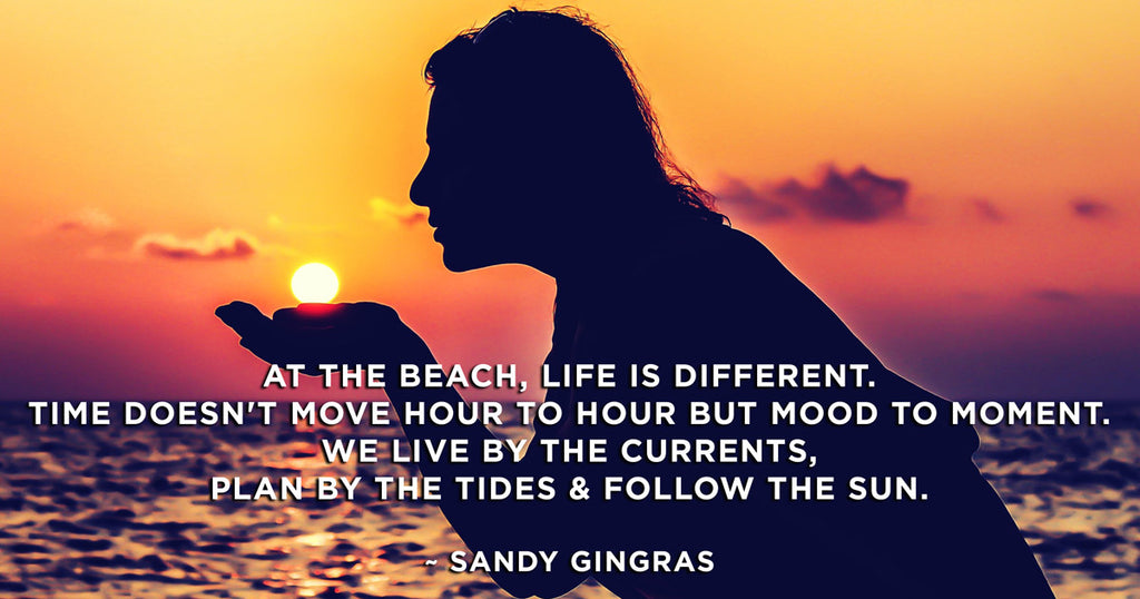 Woman silhouette holding sun on the beach. Beach Quote by Sandy Gingras