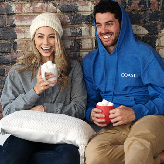 Bundle up with coast hoodies, hot cocoa and a special someone.
