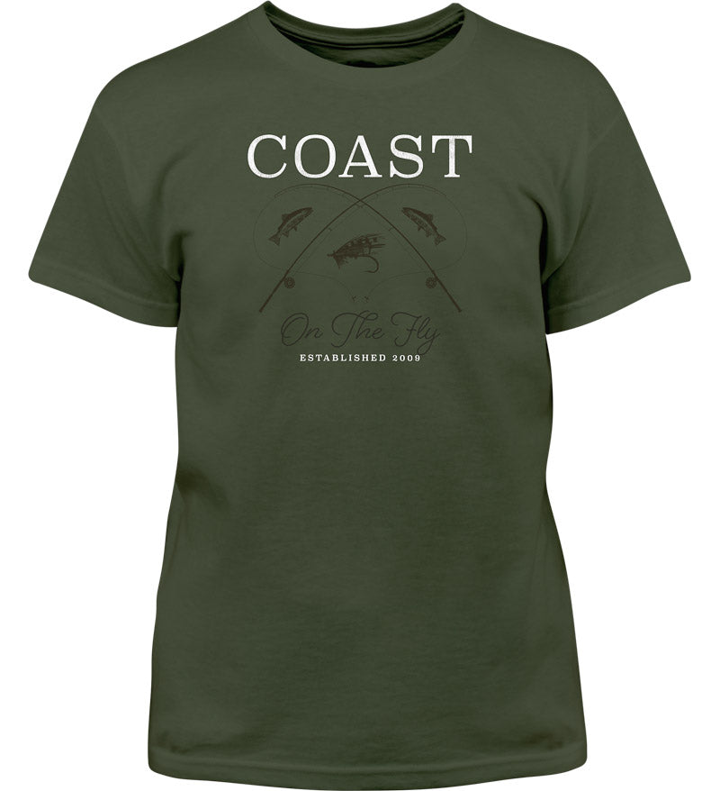 Coast Apparel Boys Side Boat Saltwater Tee olive front