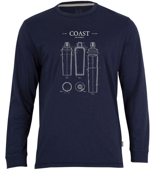 Coast Apparel Not Stirred Seashore Long Sleeve Tee navy front