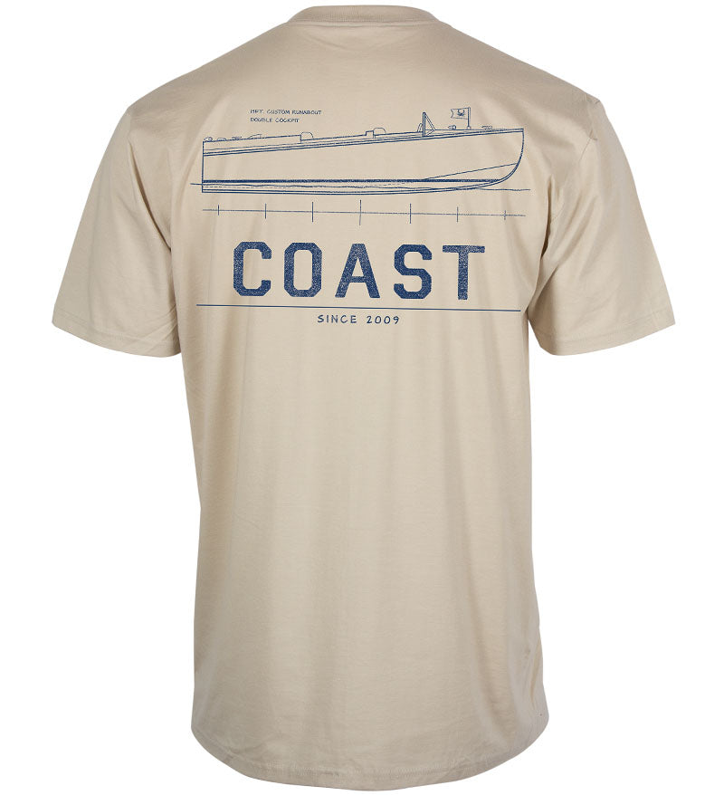 Coast Apparel Side Boat Classic Pocket Tee oyster grey back