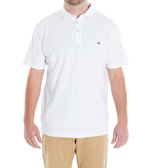 solid white winyah polo