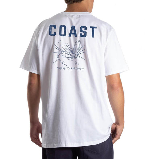 Model wearing Coast Apparel Dry Fly Classic Pocket Tee white back