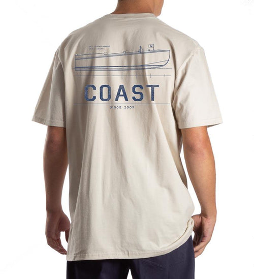 Model wearing Coast Apparel Side Boat Classic Pocket Tee oyster grey back