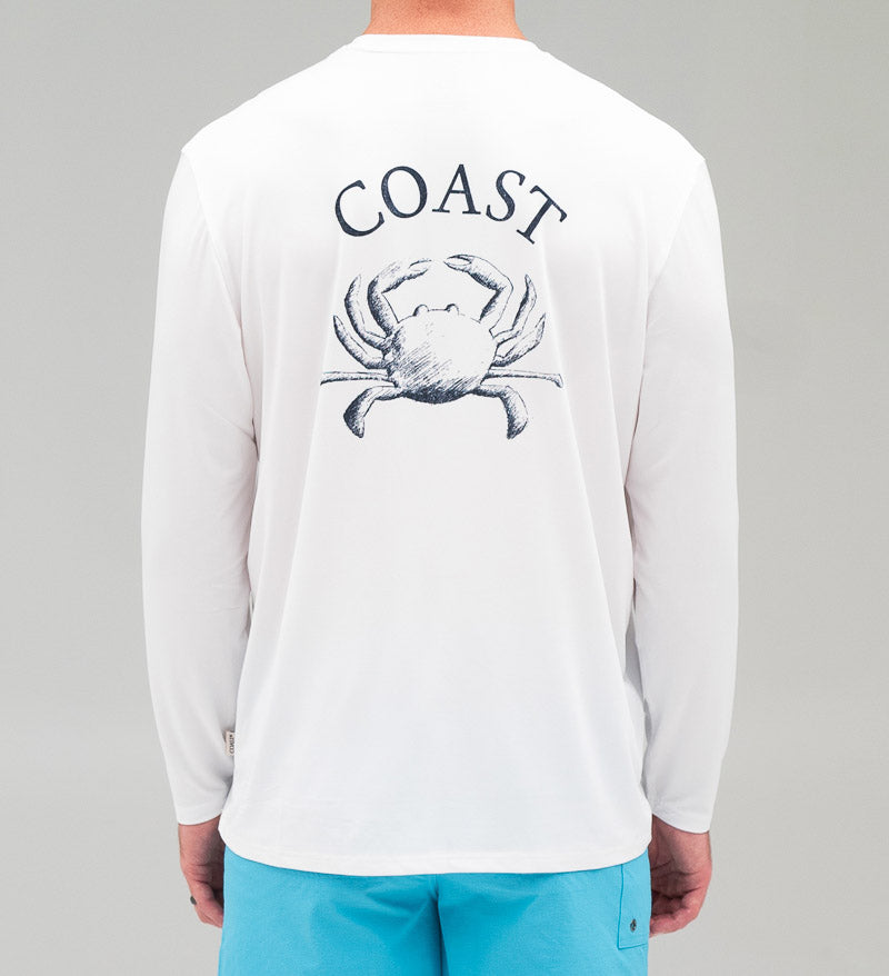 Model wearing Crabanatomy Long Sleeve Performance Shirt white back