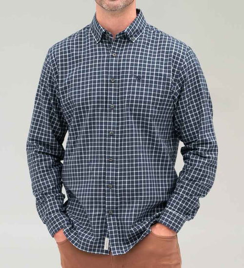 Model wearing Coast Apparel Marlin Button Down Shirt navy front