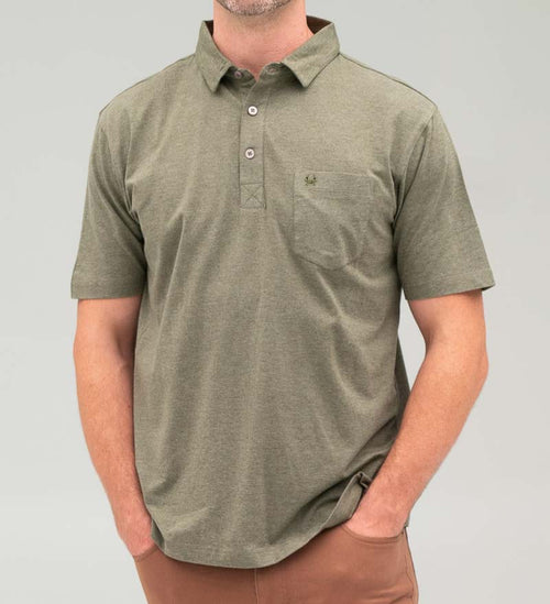 Model wearing Coast Apparel Skipper Polo olive heather front