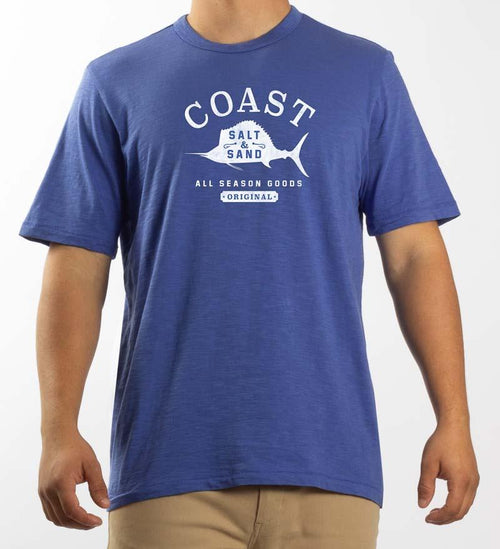 Model wearing Coast Apparel Salt and Sand Saltwater Tee cobalt