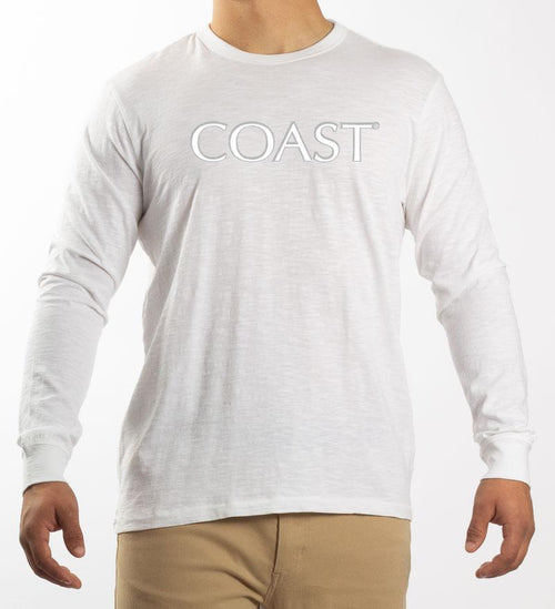Model wearing Coast Apparel Shine Seashore Long Sleeve Tee white