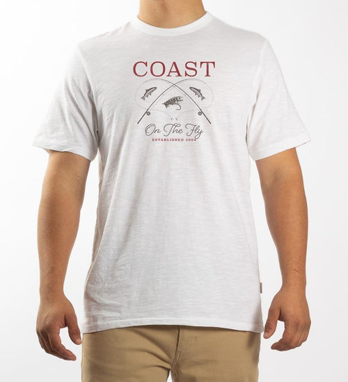 Model wearing Coast Apparel On the Fly Saltwater Tee white