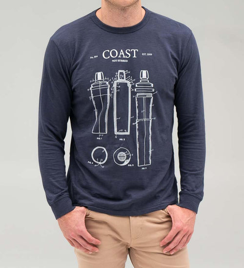 Model wearing Coast Apparel Not Stirred Seashore Long Sleeve Tee navy front