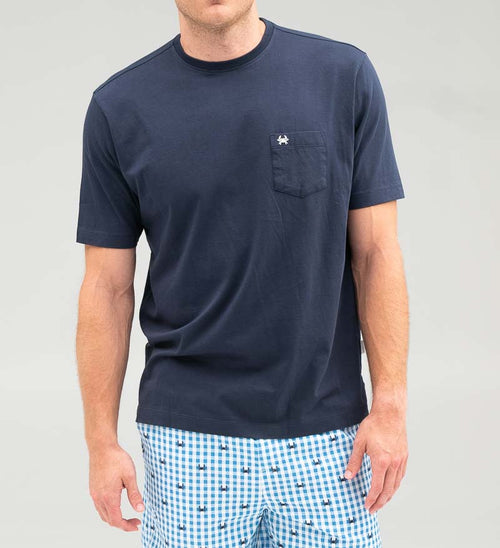 Model wearing Coast Apparel Pima Crew Pocket Tee navy front