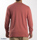 Model wearing Coast Apparel Solid Seashore Long Sleeve Tee spice back