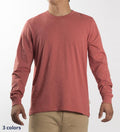 Model wearing Coast Apparel Solid Seashore Long Sleeve Tee spice front