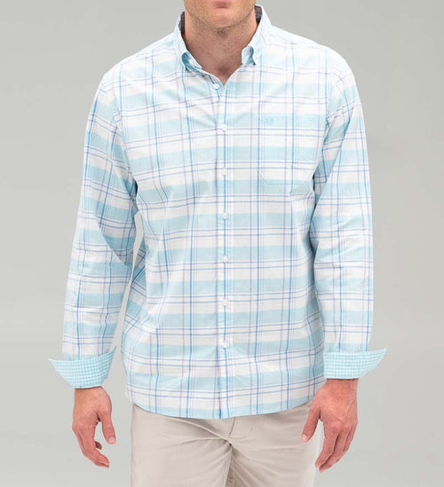 Model wearing Coast Apparel Spring Anchor Woven Button Down breaker front