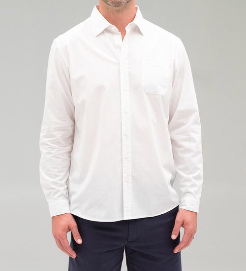 Model wearing Coast Apparel Bowman Button Down white front