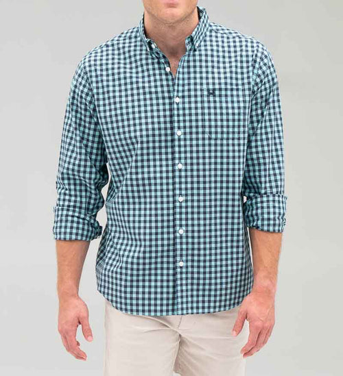 Model wearing Coast Apparel Marlin Button Down breaker front