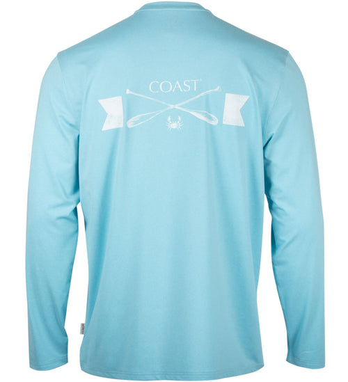 Coast Apparel Alphas Row Long Sleeve Performance Tee breaking heather back