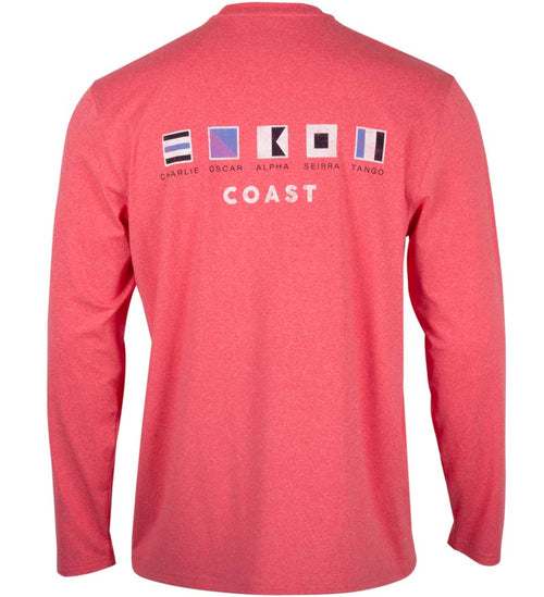 Coast Apparel Coast Flag Long Sleeve Performance Tee watermelon heather back