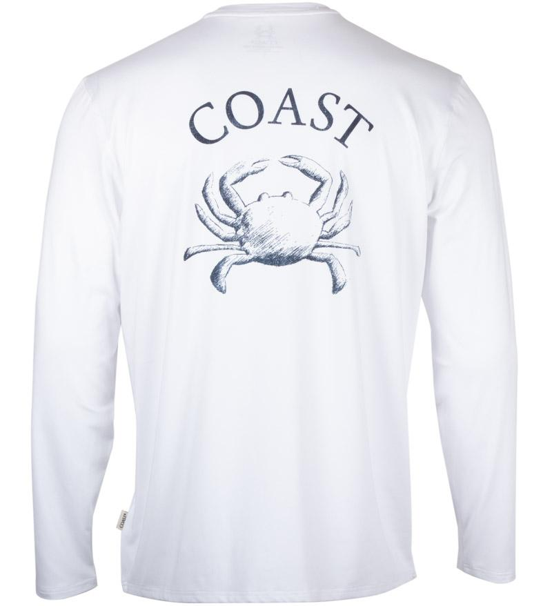 Coast Apparel Crabanatomy Long Sleeve Performance Tee white back