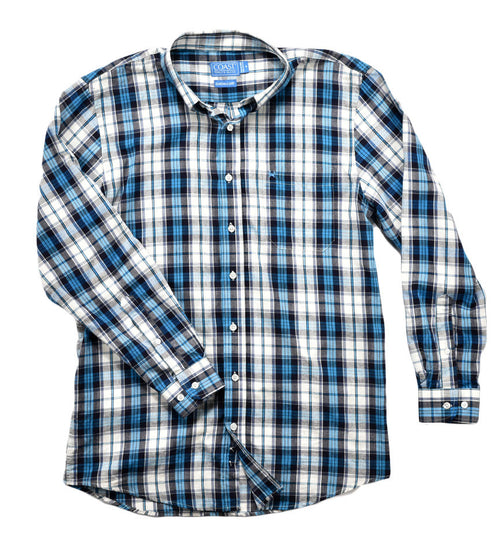 unisex button down shirt - plaid dress shirt