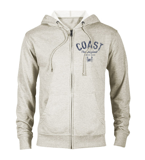 Zip Hoodie - Oatmeal - Coast Original 09 screen print on chest
