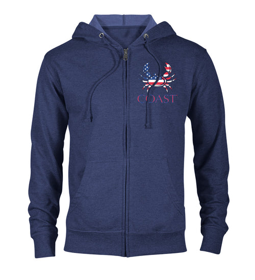 Navy zip hoodie - american crab logo on chest - red white and blue