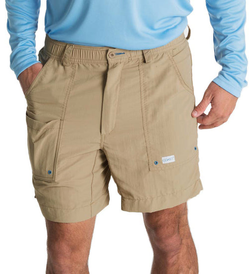 "khaki angler shorts - 6.5"" inseam fishing shorts - swim shorts - casual shorts - beach shorts"