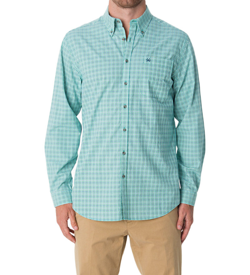 casual button down shirts - dress shirt with blue & green plaid pattern