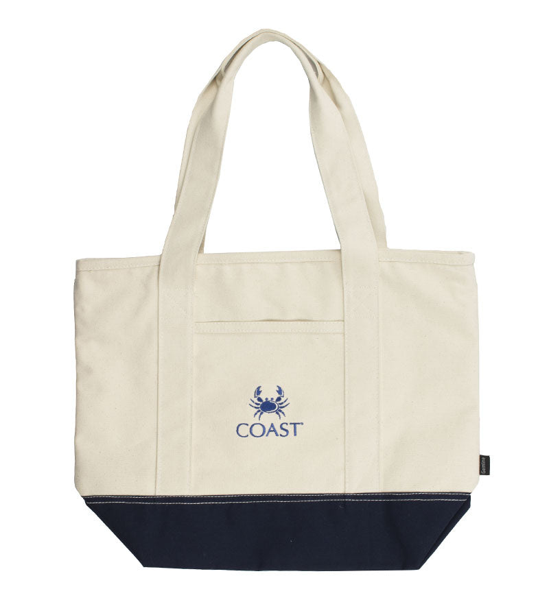 Embroidered Crab Canvas Beach Tote - Cream and Navy
