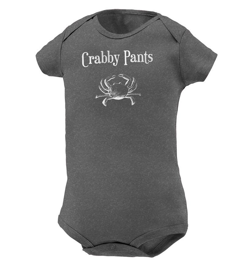 baby clothes - grey onesie - crabby patty with crab screenprinted on the chest