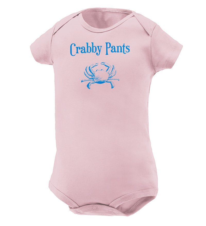baby clothes - pink onesie - crabby patty with crab screenprinted on the chest