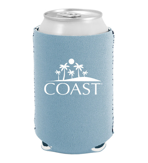 Coast beach design on light blue can insulator, can cooler