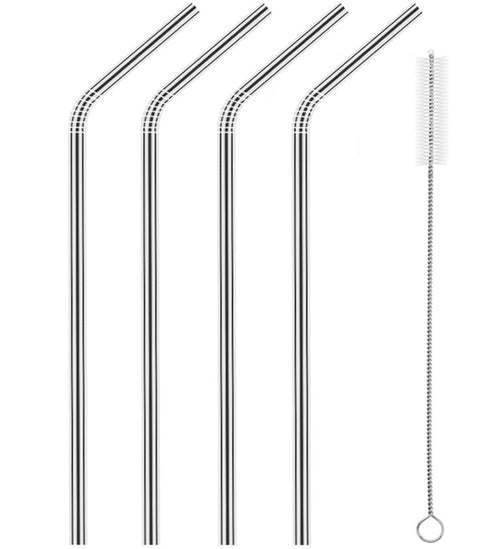 "8.5"" long stainless steel straws - bent with cleaning brush"