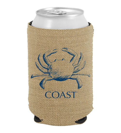 Sketch Crab on Burlap Neoprene Can Cooler