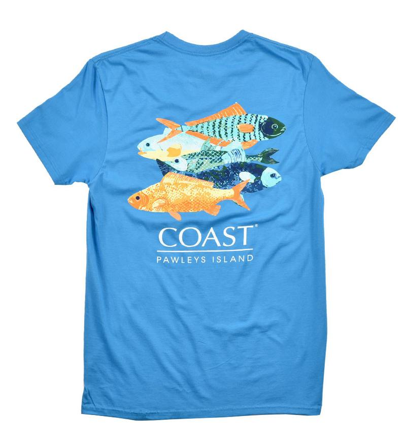 colorful fish classic graphic t-shirt - blue