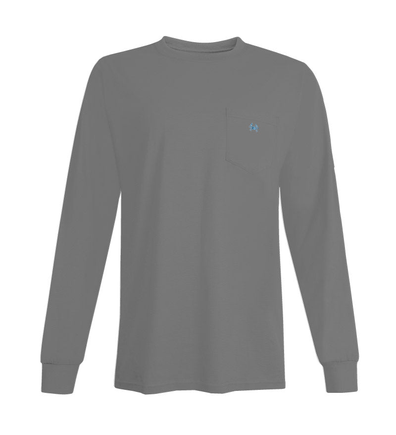 crab embroidery long sleeve t-shirt - grey