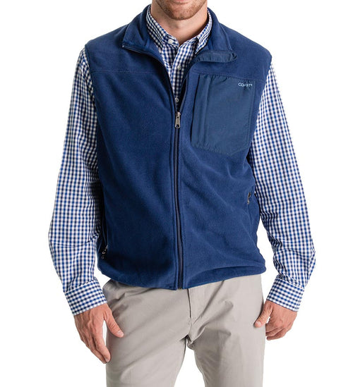 fireside flannel fleece vest - zip up vest front