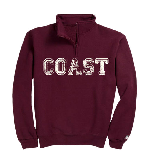fleece quarter zip pullover - maroon