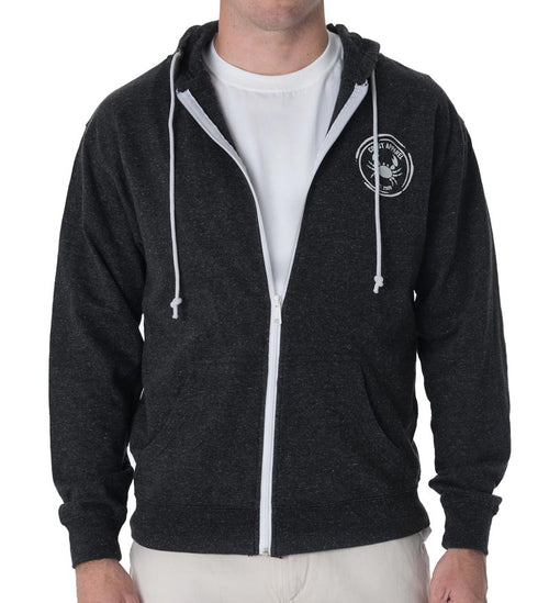 French Terry Zip Hoodie - Black Snow Heather