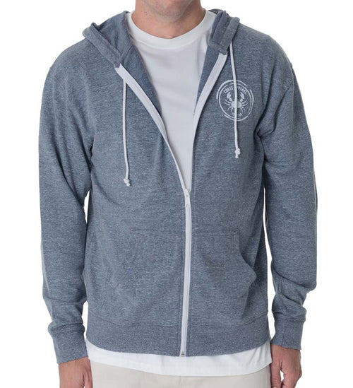 French Terry Zip Hoodie - Denim Snow Heather