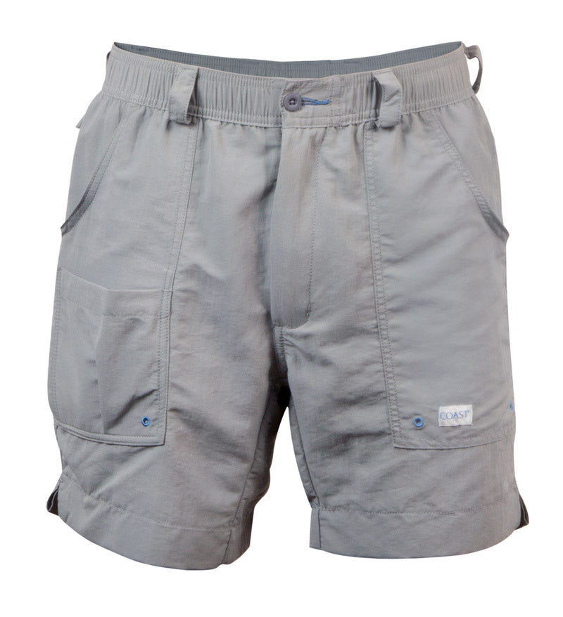"gray 6.5"" angler shorts - fishing shorts - beach shorts - quick dry"