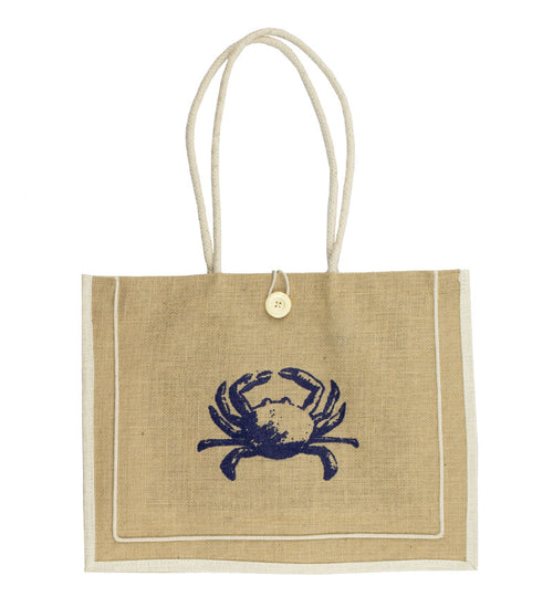 Jute Tote with Navy Crab and Cream Button