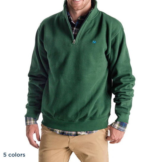 Dark Green Quarter Zip Pullover - Crab Embroidery